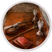 Music - Violin - A Sound Investment  Round Beach Towel
