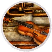 Music - Violin - Played It's Last Song  Round Beach Towel by Mike Savad
