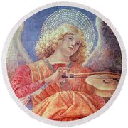 Musical Angel With Violin Round Beach Towel