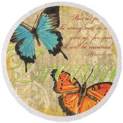 Musical Butterflies 1 Round Beach Towel