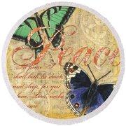Musical Butterflies 2 Round Beach Towel by Debbie DeWitt