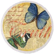 Musical Butterflies 3 Round Beach Towel