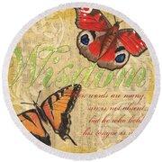 Musical Butterflies 4 Round Beach Towel