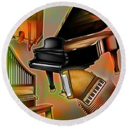Musical Instruments With Keyboards Round Beach Towel