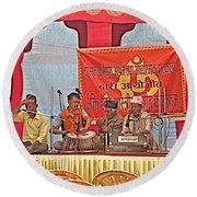 Musicians At Hindu Festival Of Ram Nawami In Kathmandu-nepal Round Beach Towel