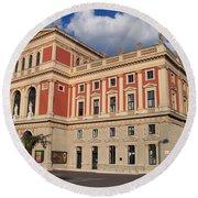 Musikverein Gesellschaft Der Musikfreunde Building Vienna Austria Round Beach Towel