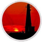 Muskegon Light Sunset Round Beach Towel