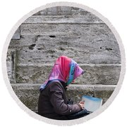 Muslim Woman At Mosque Round Beach Towel