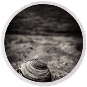Mussel On The Beach Round Beach Towel