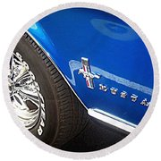 Mustang Blue Round Beach Towel