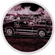 Mustang Rose Round Beach Towel