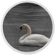 Mute Swan On Ice Round Beach Towel