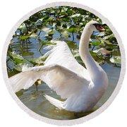 Mute Swan Wings Round Beach Towel