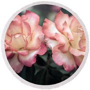 Muted Pink Roses Round Beach Towel