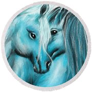 Mutual Companions- Fine Art Horse Artwork Round Beach Towel
