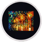 My Best Friend - Palette Knife Oil Painting On Canvas By Leonid Afremov Round Beach Towel