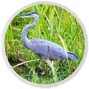 My Blue Heron Round Beach Towel by Greg Fortier