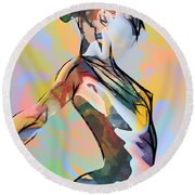 My Colorful Ballerina  Round Beach Towel