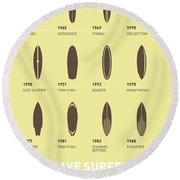 My Evolution Surfboards Minimal Poster Round Beach Towel by Chungkong Art