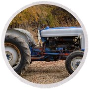 My Faithful Tractor Round Beach Towel