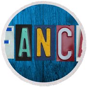 My Fancave License Plate Letter Vintage Phrase Artwork On Blue Wood Round Beach Towel