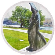 My Favorite View Of Metal Sculpture In Front Of Maryhill Museum Of Art-wa Round Beach Towel