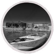 My Front Yard Black And White Round Beach Towel