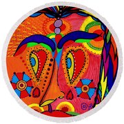My Funny Little Clown Face - Color Love Round Beach Towel