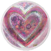My Glittering Heart Round Beach Towel
