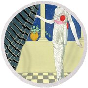 My Guests Have Not Arrived Round Beach Towel by Georges Barbier