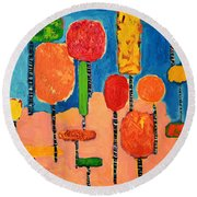 My Happy Trees 2 Round Beach Towel