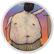 My Head Is A Raisin. Round Beach Towel by James W Johnson