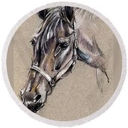 My Horse Portrait Drawing Round Beach Towel