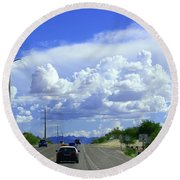 My House Over The Hill Under The Clouds Round Beach Towel