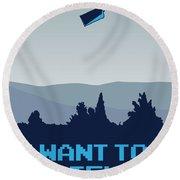 My I Want To Believe Minimal Poster- Tardis Round Beach Towel