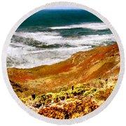 My Impression Of California Coastline Round Beach Towel
