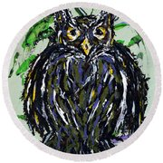 My Little Owl Round Beach Towel