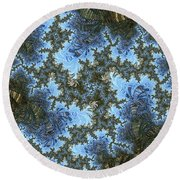 My Maui Fractal Art Abstract Palms And Blue Sky And Waters Round Beach Towel