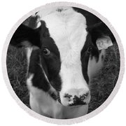My Name Is Cow - Black And White Round Beach Towel