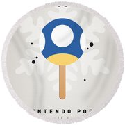 My Nintendo Ice Pop - Mini Mushroom Round Beach Towel by Chungkong Art