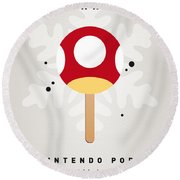 My Nintendo Ice Pop - Mushroom Round Beach Towel by Chungkong Art