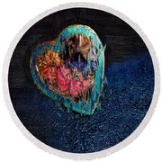 My Rough Imperfect Heart Round Beach Towel