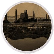 My Sea Of Ruins IIi Round Beach Towel by Marco Oliveira