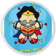 My Supercharged Voodoo Dolls Wonder Woman Round Beach Towel