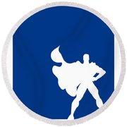 My Superhero 03 Super Blue Minimal Poster Round Beach Towel