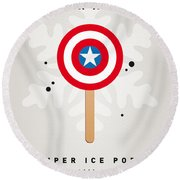 My Superhero Ice Pop - Captain America Round Beach Towel