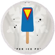 My Superhero Ice Pop - Superman Round Beach Towel by Chungkong Art