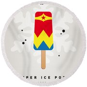 My Superhero Ice Pop - Wonder Woman Round Beach Towel