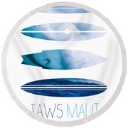 My Surfspots Poster-1-jaws-maui Round Beach Towel by Chungkong Art