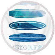 My Surfspots Poster-2-mavericks-california Round Beach Towel by Chungkong Art